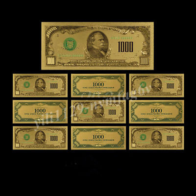 10pcs US $1000 Dollars 1918 Year Gold Foil Money Home Liveing Arts Gift Banknote