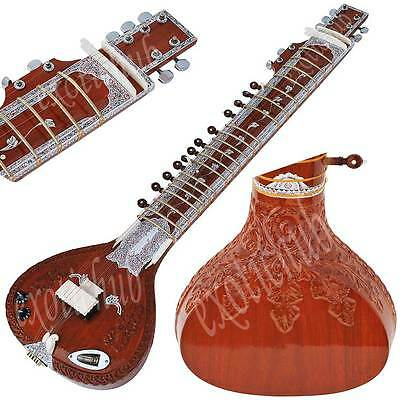 Sitar~Ravi Shankar Style~Tun Wood~Sitaar~Free Gig Bag, Mizrabs~Hand Made Indian