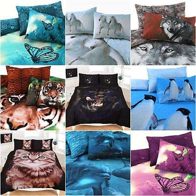 Animal Print Pattern 3D Design Panel Duvet Quilt Cover Bedding Set Cotton