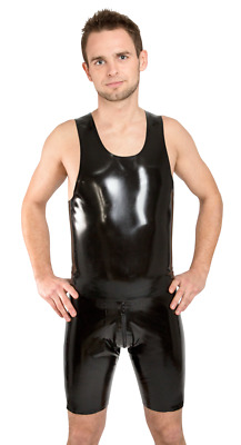 Latex Trägershirt Smokey Black NEU GAY