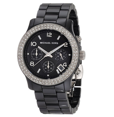 c6a5b95afd78 Michael Kors Runway Black Ceramic Glitz Chronograph MK5190 Women s Watch