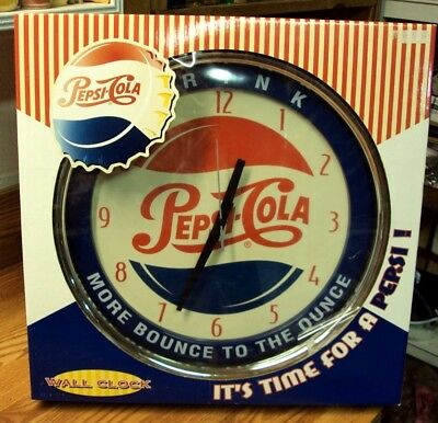 """DRINK PEPSI-COLA More Bounce To The Ounce WALL CLOCK ~ Approx 15"""" D ~ New in Box"""