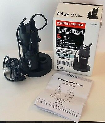 NEW Everbilt 1/4 HP Submersible Sump Pump with Tether Float Switch 3,000-GPH