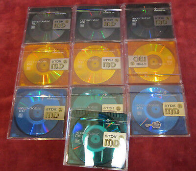 10 x gebrauchte TDK Color 74 min. Minidisc - blank MD / mint condition