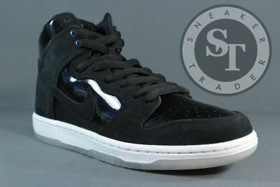 e77a13481a69 Nike Sb Zoom Dunk High Pro 854851-001 Iridescent Black White Clear Ds Size