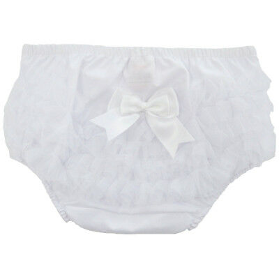 baby frilly knickers/pants with bow-WHITE