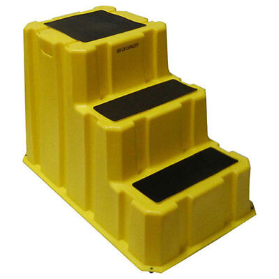 "3 Step Nestable Plastic Step Stand - Yellow 25-3/4""W X 42""D X 29""H, Lot of 1"