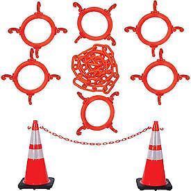 Mr. Chain 93280-6  Traffic Cone & Chain Kit with Reflective Collars, Traffic