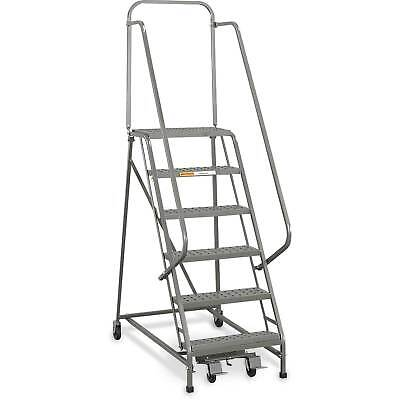 """EGA L059 Industrial Rolling Ladder 12-Step, 26"""" Wide Perforated, Gray, 450Lb."""