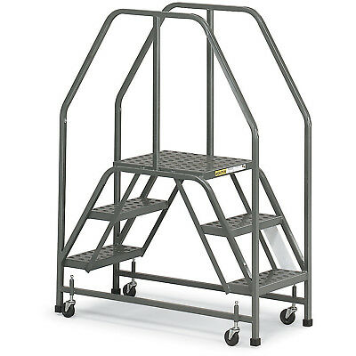 """EGA E002 Steel Double Entry Platform 3-Step, 16"""" Wide Perforated, Gray, 300 lb."""