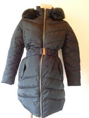 Dorothy Perkins Maternity Dark Navy Quilted Fur Trim Hooded Coat Jacket Size 10
