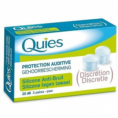 QUIES Protection Auditive Silicone Anti-bruit 20 dB - Discrétion - 3 paires