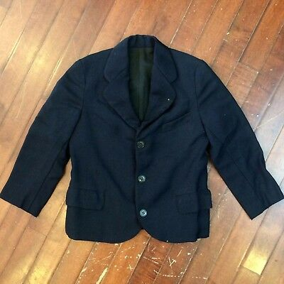 Boys 4T Vintage 1920s Wool 3 Button Sack Coat Suit Jacket