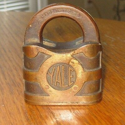 Antique old vintage Yale & Towne brass bronze padlock U.S.A Ships Free
