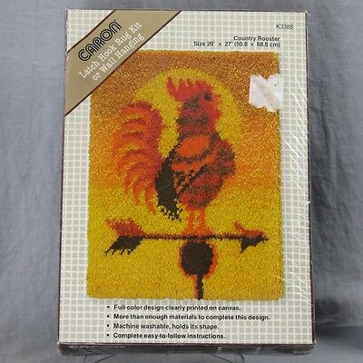 """Latch Hook Kit Country Rooster Caron 20"""" x 27"""" K3388 Factory Sealed No Tool"""