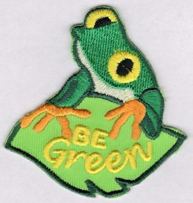 Girl Boy Cub BE GREEN Fun Patches Crests Badges SCOUT GUIDE recycling reuse frog