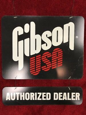 Vintage Gibson USA Authorized Dealer Sign Rare Perfect For Musician Man Cave