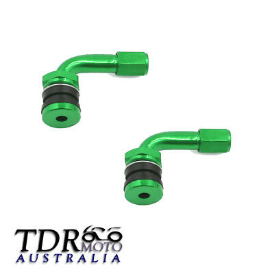 Green 2x Tyre Valve Extension 90 Degree Angle Adaptor Motorcycle Tyre Wheel Stem