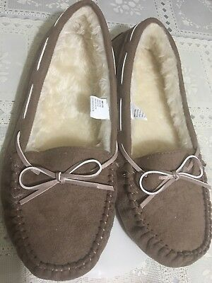 4b76d7f25293 So Women s Microsuede Lined Moccasin loafers Slippers 200 Tan Sz.XL (11-12