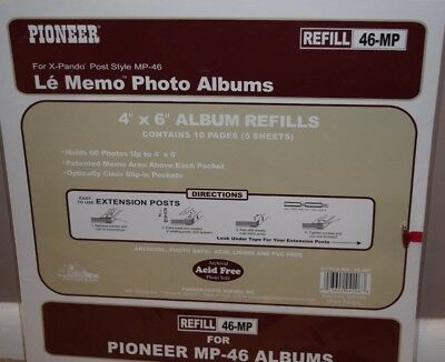 Pioneer Memo Pocket Album Refill 4 Inch By 6 Inch For Mp 46 Albums