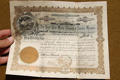 1902 Stock Certificate RAND GOLD MINING Co of Thunder Mountain RANDSBURG Calif??