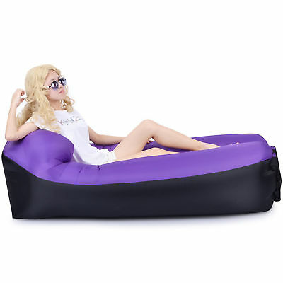 Inflatable Air Sofa Bed Lazy Sleeping Camping Beach Bag Couch Windbed outdoor