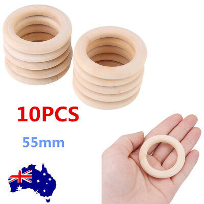Unfinished Natural Wooden Round Rings Jewelry Making DIY Wood Craft 55mm OZ