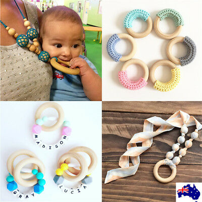 20X 55mm Crafts Baby Teething Natural Wooden Rings Necklace Bracelet Jewellery