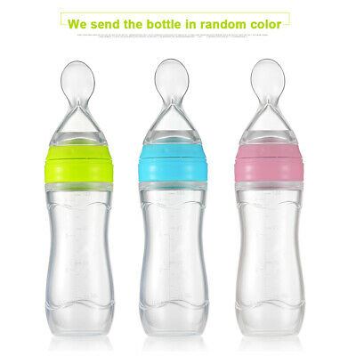 Baby Free Silicone Feeding Bottle Spoon Food Rice Cereal Feeder Leak-proof 120ml