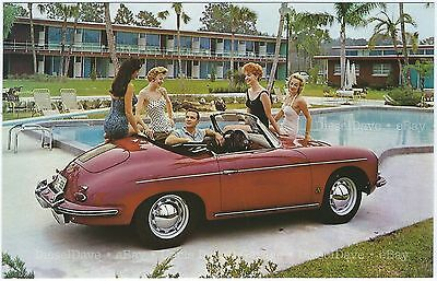1960s PORSCHE 356 CONVERTIBLE Red Original NOS Dealer Promo Postcard UNUSED VG+^