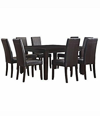 Simpli Home 9 Piece Acadian Dining Set, Tanners Brown