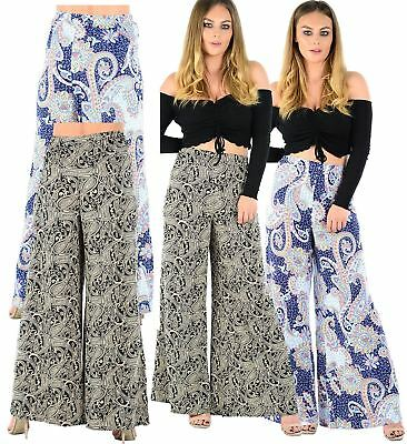 New Ladies Printed Parallel Wide Leg Trousers Paisley Palazzo Pants 16-30