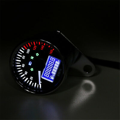 Chrome Analogue Motorcycle Speedometer LCD Odometer Indicator Fuel Lvl Gauge 12V