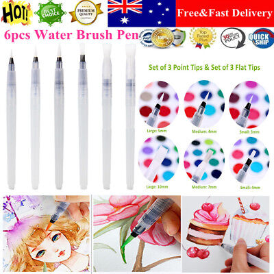 6pcs Refillable Artist Ink Pen Water Brush Set For Painting Drawing Art Supplies