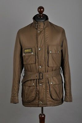 Men's BARBOUR International Padded Quilted Light Brown Belted Jacket Size M