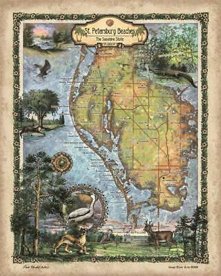 Florida Map Of Beaches.Florida Keys Treasure Map Metal Signs Beach Decor Travel Poster
