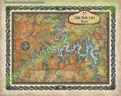 Table Rock Lake, Table Rock lake art, table rock lake map, map table rock lake,