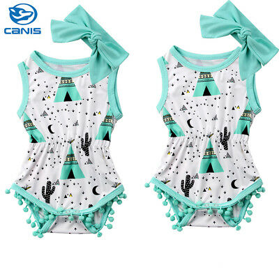 USA Stock Newborn Baby Girls Romper Bodysuit Playsuit Jumpsuit Clothes Outfits