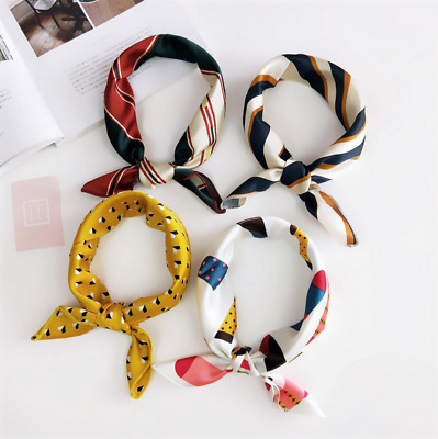Women Square Silk Feel Satin Scarf Small Vintage Head Neck Hair Tie Band 1pc