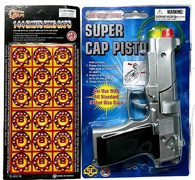 Metal Die Cast Toy Revolver Cap Gun - Bonus 144 Super Caps For Free - Free Post