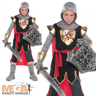 Crusader Knight Boys Fancy Dress Kids Medieval St George King Childs Costume New