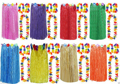 Ladies Girls Hawaiian 80 Cm Hula Skirt 4 Pc Lei Hula Set Fancy Dress Costume