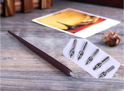 English Calligraphy Cartoon Writing Wood Straight Sticks Pens Tips Vintage
