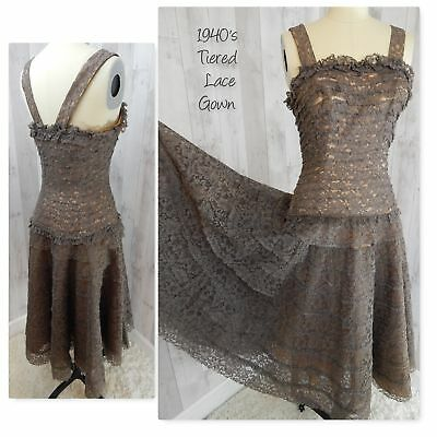 Vintage 1930-40s Tiered Lace Fit & Flare Gown~Dance Dress~Mocha Brown Antique S
