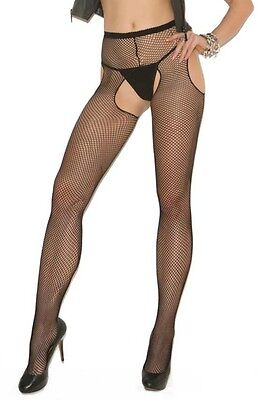 Elegant Moments Black Fishnet Crotchless Suspender Tights Open Crotch One Size
