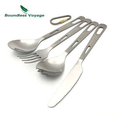 4PCS Set   Boundless Voyage Titanium Cutlery Set Knife Spork Spoon Fork with Bag