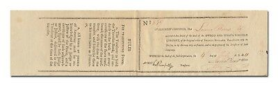 Owego and Ithaca Turnpike Company Stock Certificate (Issued 1811)