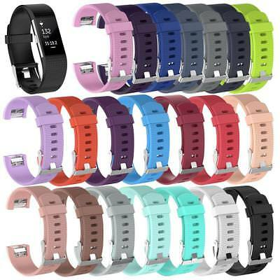 Replacement Silicone Rubber Band Strap Wristband Bracelet For Fitbit CHARGE2 S/L