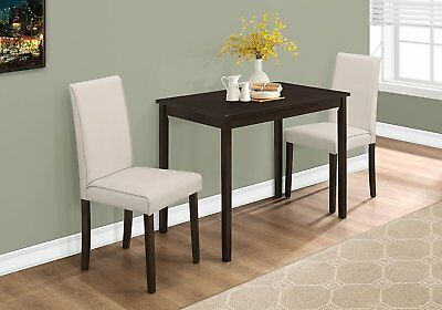 Monarch Specialties I1017 3 Piece Dining Set, Parson Chairs In  Cappuccino/Beige