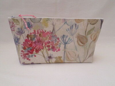 Handmade Oilcloth Make Up Bag Case - Voyage Hedgerow Fabric